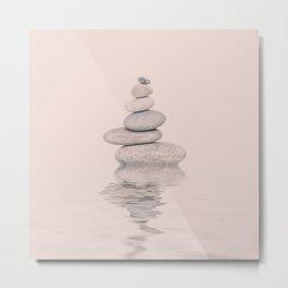Balanced Harmony Zen Pebble soft pink Metal Print