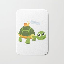 Adorable Snail Riding Turtle Yelling Whee Cute Bath Mat