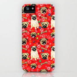 Red Pug Print iPhone Case