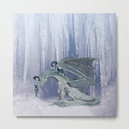 Awesome ice dragon with fairys Metal Print