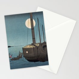 TIR-FA-Japan Print - Fūkeiga - Night Time Japanese Fishermen Stationery Cards