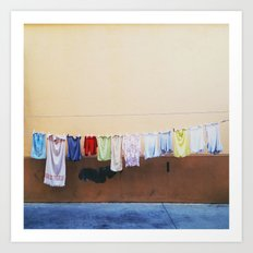 Drying laundry Art Print