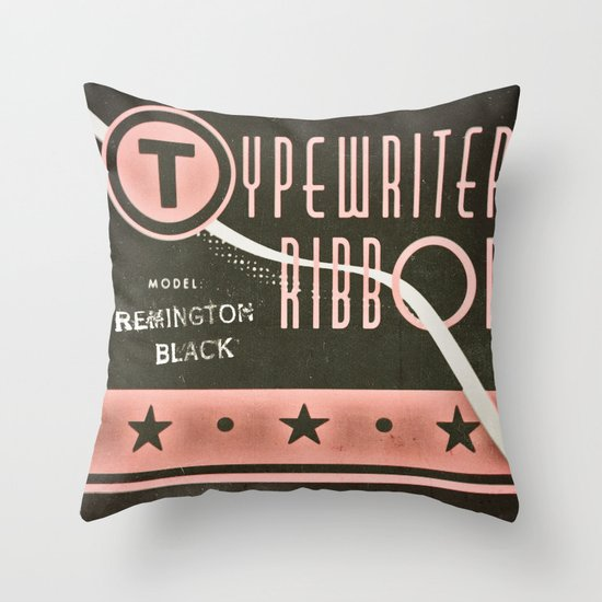 Typewriter Ribbon Throw Pillow