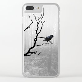 Black Crow in Foggy Forest A118 Clear iPhone Case