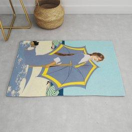 """C Coles Phillips """"Beach Umbrella"""" Fadeaway Girl Rug"""