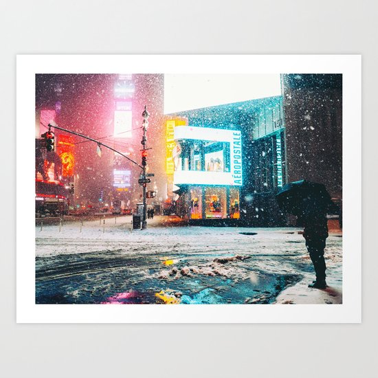 New York City Snow in Times Square Art Print