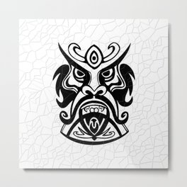 Vicious Tribal Mask Black and White 006 Metal Print