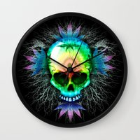marijuana Wall Clocks featuring Marijuana Psychedelic Skull by BluedarkArt