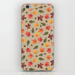 Autumn Leaves Pattern Beige Background iPhone Skin