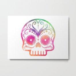 "Custom Design Modern Sugar Skull (""Calavera"") Metal Print"