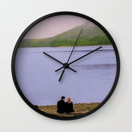 Conversation on the log - oil color painting Wall Clock