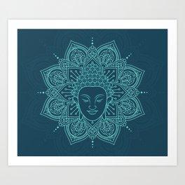 Buddha head mandala yoga henna Art Print
