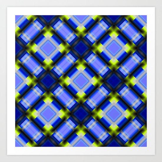 Square pattern serie 1 blue Art Print