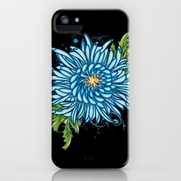 Blue chrysanthemum iPhone Case