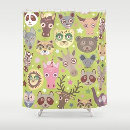 funny animals muzzle seamless pattern, Green background with stars. Vector illustration Shower Curtain