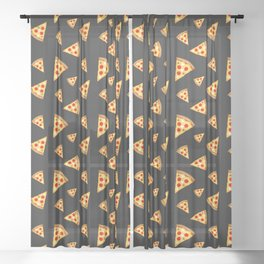 Cool and fun pizza slices pattern Sheer Curtain