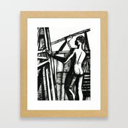 Easels. Silhouette of woman Framed Art Print