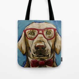 Yellow Lab with Glasses Art, Cute Lab Art, Pet Painting Tote Bag
