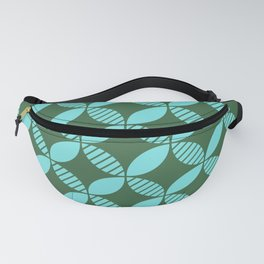 Mid Century Modern Geometric Flower Pattern Green and Blue Fanny Pack