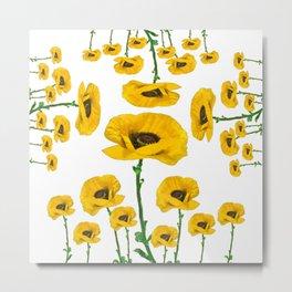 YELLOW POPPIES FLOWER ON WHITE Metal Print