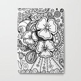 Three Large Flowers Zendoodle 062514 Metal Print