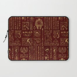 Egyptian hieroglyphs and symbols gold on red leather Laptop Sleeve