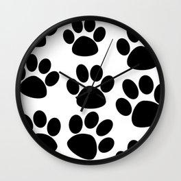 Puppy Paws Black Wall Clock