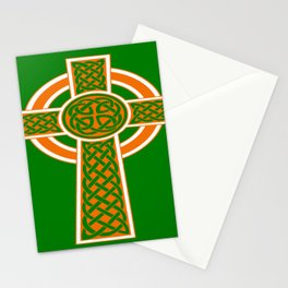 St Patrick's Day Celtic Cross Orange and White Stationery Cards