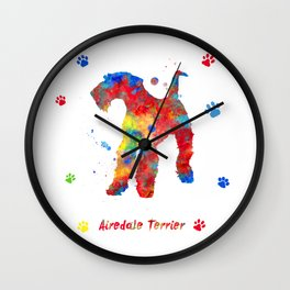 Airedale Terrier Watercolor Colorful Abstract Wall Clock