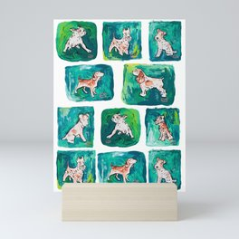 Dogs on Spring and Emerald Green Painting Mini Art Print