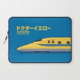Doctor Yellow Class 923 Shinkansen Bullet Train Side Profile Japanese Text Blue Laptop Sleeve