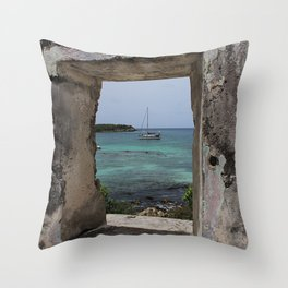 Sailboat in a Window Throw Pillow