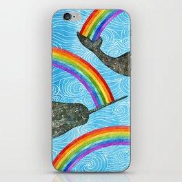 Narwhale Rainbow Blue Ocean Waves iPhone Skin