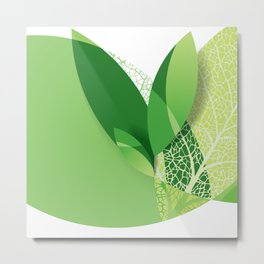 Modern green leaf, environment design Metal Print