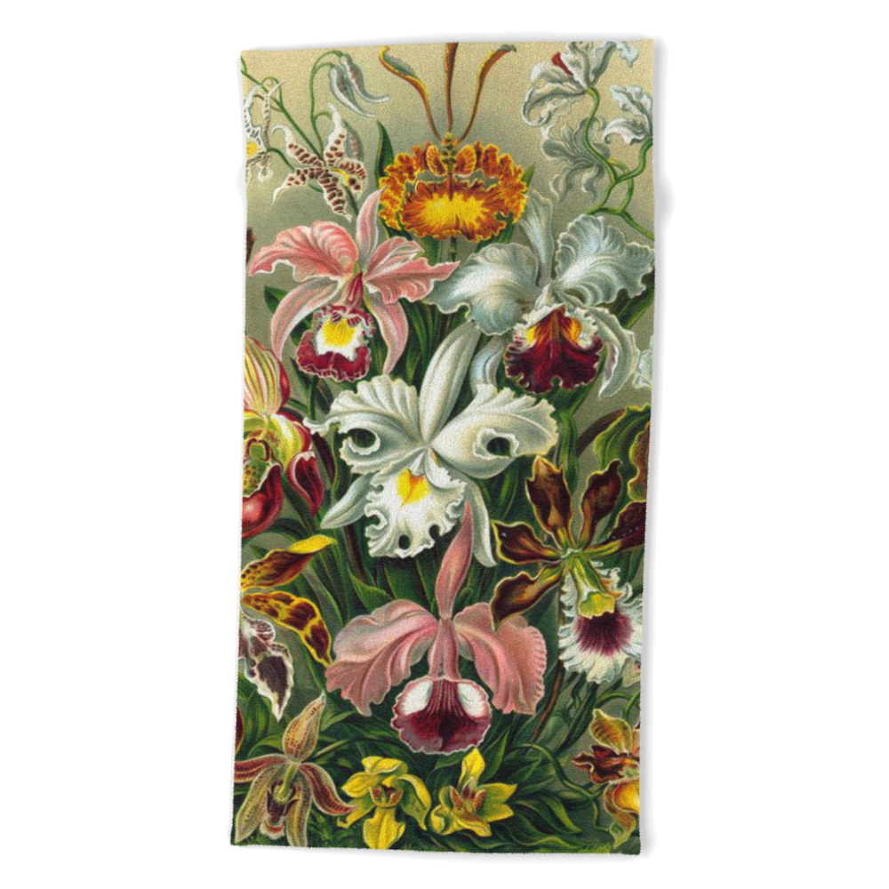 Victorian Orchids Floral Print-Ernst Haeckel Beach Towel by digitaleffects