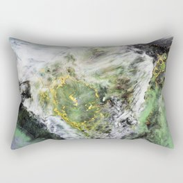 Emerald Green Marble with Gold Rectangular Pillow