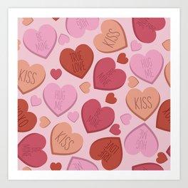 Candy heart seamless pattern Art Print