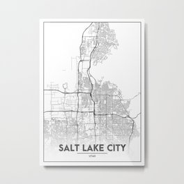 Minimal City Maps - Map Of Salt Lake City, Utah, United States Metal Print