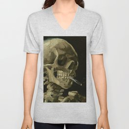 SKULL OF A SKELETON WITH BURNING CIGARETTE - VINCENT VAN GOGH Unisex V-Neck