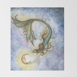 Deep Sea Moon Fantasy Mermaid Art Illustration by Molly Harrison Throw Blanket