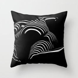 0758-AR BW Abstract Art Nude Striped Throw Pillow