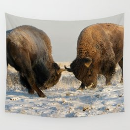 BISON FIGHTING Wall Tapestry
