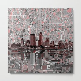 indianapolis city skyline grey Metal Print
