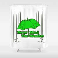 umbrella Shower Curtains featuring Umbrella by mailboxdisco