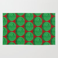 death star Area & Throw Rugs featuring Star Wars Christmas Death Star by foreverwars