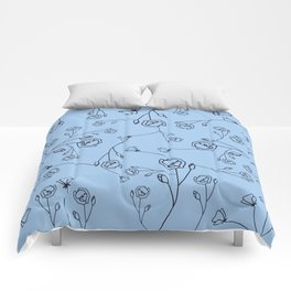 Black Hand Drawn Flowers on Corn Silk Blue Background Comforters