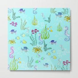 Seahorse Botanical Metal Print