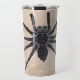 Realism Charcoal Drawing of Spider Travel Mug