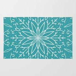 Single Snowflake - Teal Blue Rug