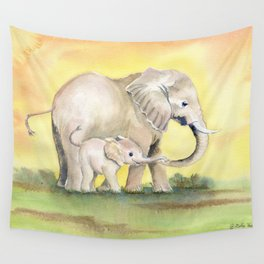 Colorful Mom and Baby Elephant 2 Wall Tapestry